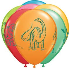 Brand New    You get 10 of these 11 Latex asst. Dinosaurs Balloons  Balloons ship flat  This balloon can be filled with helium or air. If you ever