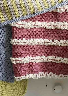 Crochet Baby Blanket Patterns-the pink and white is adorable!
