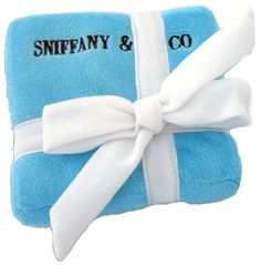 Sniffany & Co. Dog Toy-Sniffany & Co. Plush Dog Toy by Dog Diggin Designs. The infamous little blue box has driven women crazy for ages, and now this clever twist can have your pampered pooch begging for more. Parodied after the famous Tiffany &a Dog Chew Toys, Dog Toys, Big Dogs, Large Dogs, Pet Boutique, Thing 1, Toy Puppies, Dog Chews, Designer Toys
