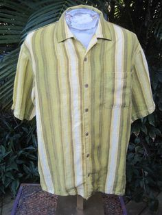 Mens Shirt STRIPED L Pit to Pit 24 TOMMY BAHAMA linen greens yellows offwhite #TommyBahama #ButtonFront