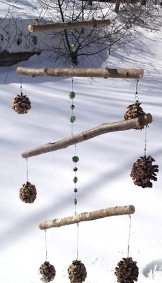 Natural wood and pinecone birdfeeder with by StixandStonesCrafts, $18.00