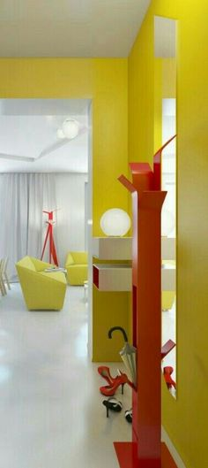 Interior, narrow hallway modern house design with yellow interior color inspiration plus red shoe storage