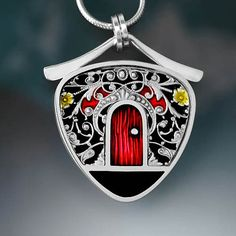 Ivy Woodrose  PMC sterling and resin door pendant by ivywoodrose