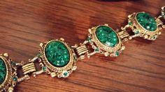Emerald Green Rhinestone and Art Glass by BlingAndBlueJeans