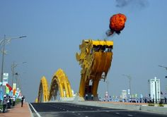 Giant Steel Dragon Bridge In Vietnam Breathes Fire