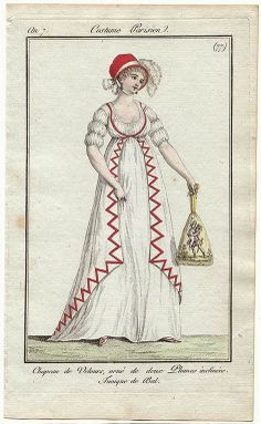 Journal des Dames et des Modes, Costume Parisien I'm in love with this gown. I really like the use of red for the unusual trimming, and I think her sleeves are lovely. Her bonnet is bold and charming and LOOK AT THAT RETICULE! It is AMAZING! Regency Dress, Regency Era, Historical Costume, Historical Clothing, Jane Austen, Victorian Fashion, Vintage Fashion, Jean Délavé, Mode Costume