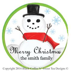 Personalized Christmas Sticker Snowman by Black Coffee N' Sweet Tea Designs $5.95 per sheet with choice of sizes. Use PIN10 Coupon Code for 10% any purchase!