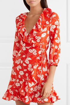 Find and compare Abigail floral-print silk-crepe wrap dress across the world's largest fashion stores! Floral Tops, Floral Prints, Beachwear Fashion, Wrap Dress Floral, Silk Crepe, One Piece Swimwear, Clothing Items, Dresses For Sale, Dress Outfits