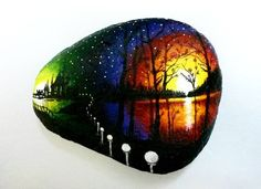 Hand Painted Rocks Stones.  Brilliant colors of the night sky, lights and trees.