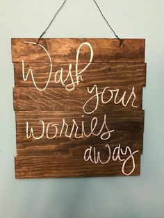 Bathroom Wall Decor by YvettesDecor on Etsy | Wash your worries away | bathroom quotes | Pallet Sign | Hand-made