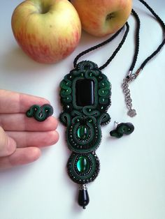 Green and black soutache pedant with small soutache earrings