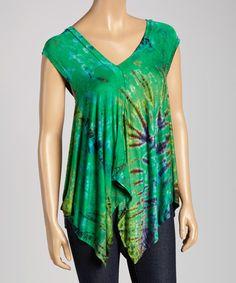 Love this Green Tie-Dye Handkerchief Top by Kathmandu Imports on #zulily! #zulilyfinds