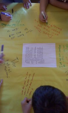 """""""Discussion Tables"""" is a fun activity to analyze text. Pick a passage from the class' book and glue it to a large sheet of paper. In groups, students write their thoughts around the corners of the passage. Set the timer and then rotate!"""