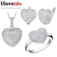Uloveido 50% de descuento de la boda africana sistemas de la joyería de traje de plata chapado en forma de corazón el amor joyas collar aretes anillo t004