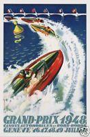 Swiss Grand Prix speedboat race Geneva poster print