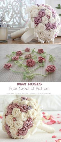 May Roses Diy Crochet Rose, Crochet Flower Tutorial, Crochet Flowers, Free Crochet, Knit Crochet, Butterfly Flowers, Butterflies, Crochet Home Decor, Love Craft