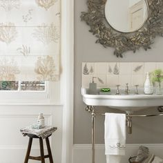 Traditional bathroom with oversized mirror