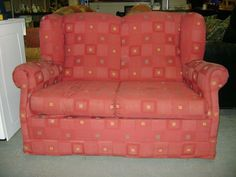 Light Red Patterned 2 Seater Couch Bed In Cork