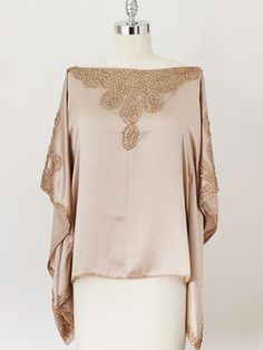 beaded silk blouse with butterfly sleeves