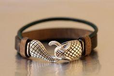 FREE SHIPPING  leather bracelet handmade leather jewellery Snake Head Toggle  mens leather bracelet