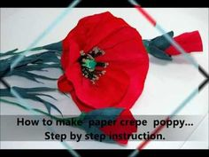 How to make paper crepe poppy Step by step DIY - YouTube
