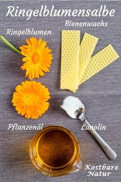 Calendula-Salbe – selbst gemachte Heilsalbe aus Ringelblumen An ointment with marigolds is one of the best remedies for injuries, inflammation and other skin problems. Beauty Make Up, Diy Beauty, Herbal Essences, Diy Spa, Natural Cosmetics, Medicinal Plants, Bath Salts, Lip Balm, Aromatherapy