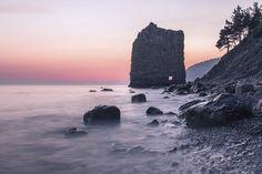Sail Rock (Parus Rock), shore of the Black Sea, near the village Praskoveyevka, Krasnodar Krai, Russia.
