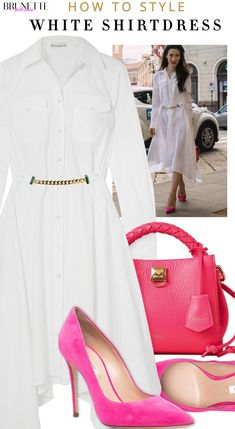 No idea how to style white shirtdress for work this summer? Well, here is one way! Wear you new designer white shirtdress with pumps and matching bag. Ps. Go to Brunette from Wall Street to find out more about this chic summer work outfit. London Fashion Bloggers, Paris Fashion, Fashion Trends, Only Fashion, Fashion Beauty, Womens Fashion, Capsule Outfits, Summer Work Outfits, Fashion Collage