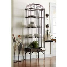 Four-Shelf Birdcage Cabinet with Drawer