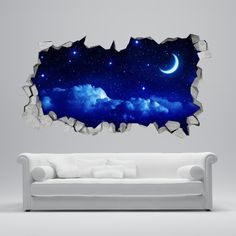 Starry Moon 3D Wallpaper  Apply this Starry Moon 3D Wallpaper in any flat surface (walls, windows, doors, furniture). Decor vinyl for your home..  If you are the kind of person that are looking for a piece of art in your wall this Starry Moon 3D Wallpaper is the perfect choice.