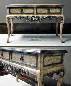 Hand Painted Furniture for old wolrd-inspired living rooms - 'Parisienne' Sofa Table at Accents of Salado Furniture Store. Dreamy.