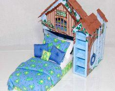 Perfección de la rosa y blanco PLAYHOUSE cama por MiniatureLane