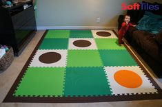SoftTiles Die-Cut Circles Foam Mats are used as an accent in this lime and green playroom floor.