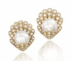 A PAIR OF CULTURED PEARL AND DIAMOND 'SHELL' EAR CLIPS, BY VAN CLEEF & ARPELS