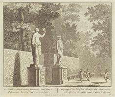 Anonymous   Sculpturen van Flora en Mercurius, mogelijk in buurt van Frascati, Anonymous, Pieter Schenk (I), unknown, 1675 - 1711  