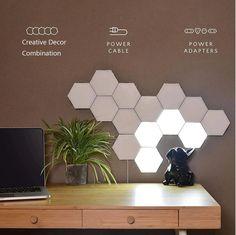 New Touch Sensitive Colorful Modular Quantum Lamp / LED Night | Etsy Lampe Tactile, Hexagon Sides, Modular Walls, Lumiere Led, Led Wall Lamp, Luz Led, Led Lampe, Night Lamps, Lamp Sets