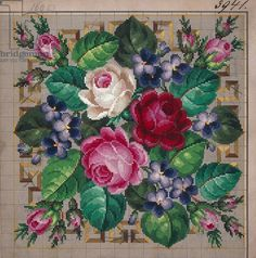 Bunch of roses and violets embroidery design, bordered by geometric motifs, century SAVED Cross Stitch Rose, Cross Stitch Flowers, Cross Stitch Charts, Cross Stitch Designs, Cross Stitch Patterns, Rose Embroidery, Cross Stitch Embroidery, Embroidery Patterns, Roses And Violets