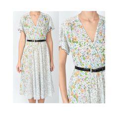 Sheer Floral Dress / 70's Floral Dress / Plunging Dress / Boho Floral Dress / Flutter Sleeve Dress / Secretary Dress / Sheer 70s Dress by GoodLuxeVintage on Etsy