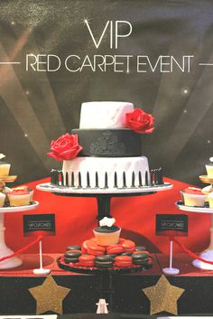 "Photo 1 of 13: VIP Red Carpet Event / Birthday ""VIP Red Carpet Event 21st Dessert table"" 