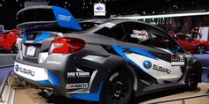 Subaru unveils their new livery for the Subaru WRX STI rally car at NAIAS in Detroit. Subaru Rally, Subaru Wrx, Rally Car, Mercedes Jeep, Daihatsu, Wrx Sti, Car Wrap, Car Brands, Detroit