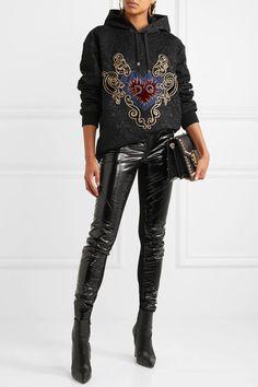 Dolce & Gabbana | Oversized appliquéd cotton-blend jacquard hooded top | NET-A-PORTER.COM