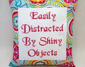 Funny Cross Stitch Pillow, Pink Blue And Green Pillow, Distracted Quote