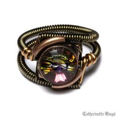 Steampunk Jewelry Ring Volcano Copper Brass