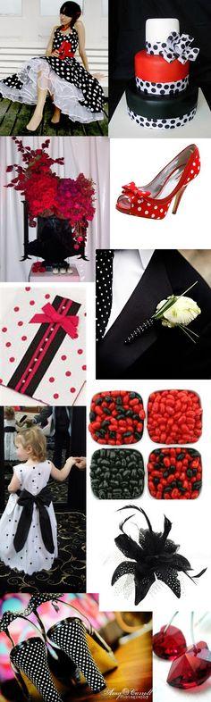 Weddingzilla: Red and Black Polka Dot Wedding Theme Inspiration Board
