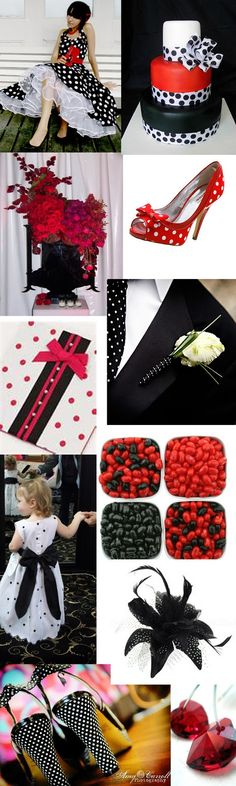 Weddingzilla: Red and Black Polka Dot Wedding Theme Inspiration Board