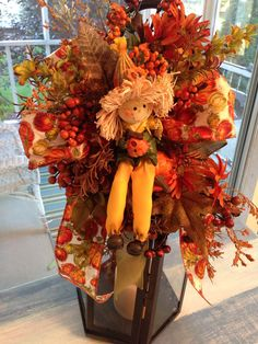 Fall Decoration Scarecrow Swag for Lantern Fall Home Decor, Holiday Decor, Fall Mesh Wreaths, Fall Lanterns, Fall Flower Arrangements, Autumn Decorating, Vintage Fall, Fall Crafts For Kids, Fall Pumpkins
