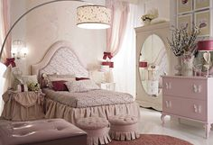 Dolfi children's room / Composition includes SHERLEY bed; Dresser with two drawers; Nightstand with two drawers; Roundtable; Wardrobe with oval mirror; Small round pouffe; Arched floor lamp; Table lamp with petals and butterflies; Table lamp with petals and butterflies; Hot air balloon sconce, 2 lights / Available at Masha Shapiro Agency