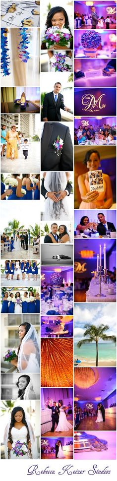 Theresa and Jeff's blue, purple and gold themed wedding in Waikiki - Rebecca Keizer Studios
