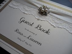 Vintage ivory and gold Wedding Guest Book