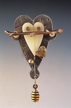"""""""Small Glow in My Heart""""  Pewter, Resin & Brass Brooch created by Thomas Mann on Artful Home"""
